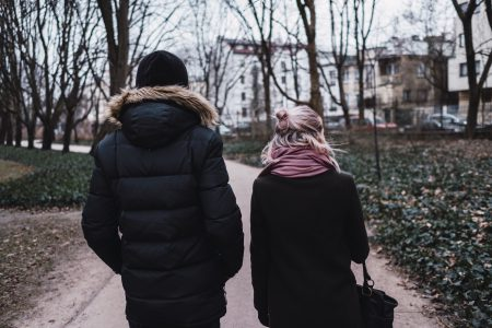 Two people walking in the park - free stock photo
