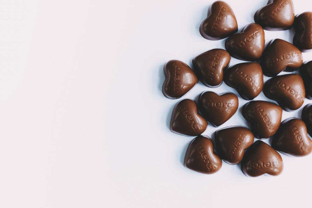 Heart shaped chocolates - free stock photo