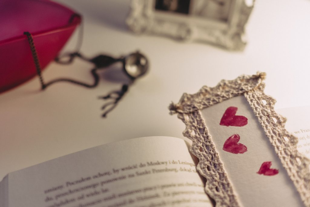 Lace bookmark - free stock photo