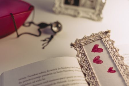 Lace bookmark - free stock photo
