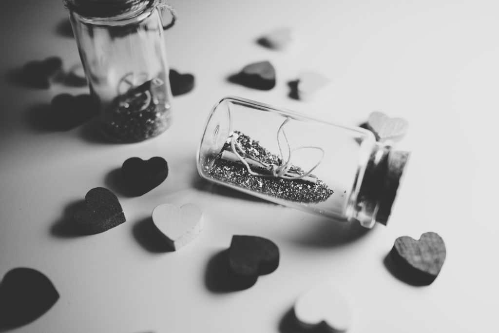 Message in a bottle in black and white - free stock photo