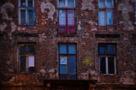 Old red brick tenement house - free stock photo