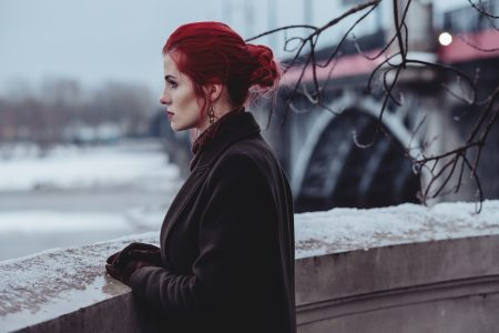Redhead woman posing in th city 2 - free stock photo