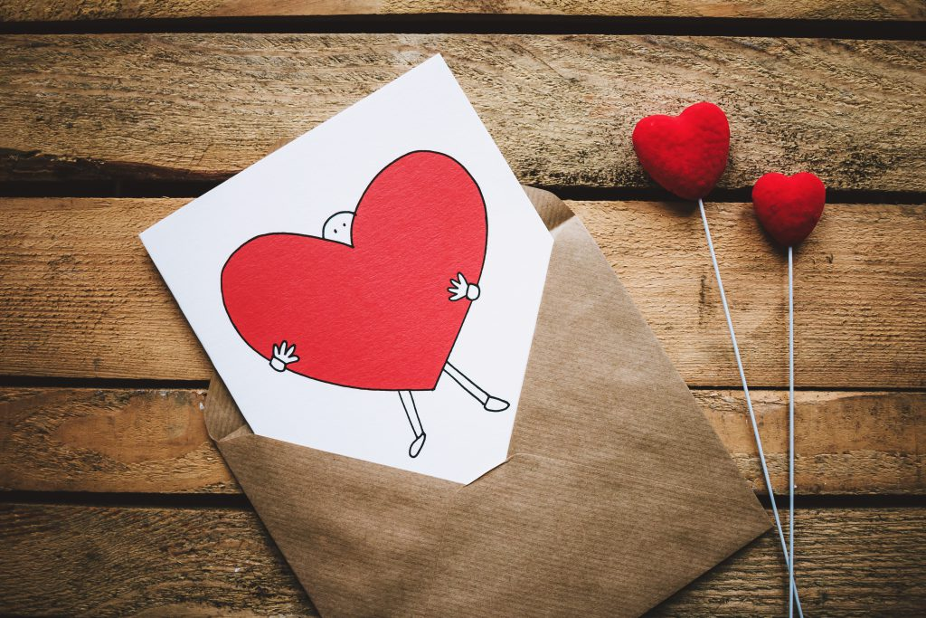 Valentines card on a wooden box 3 - free stock photo