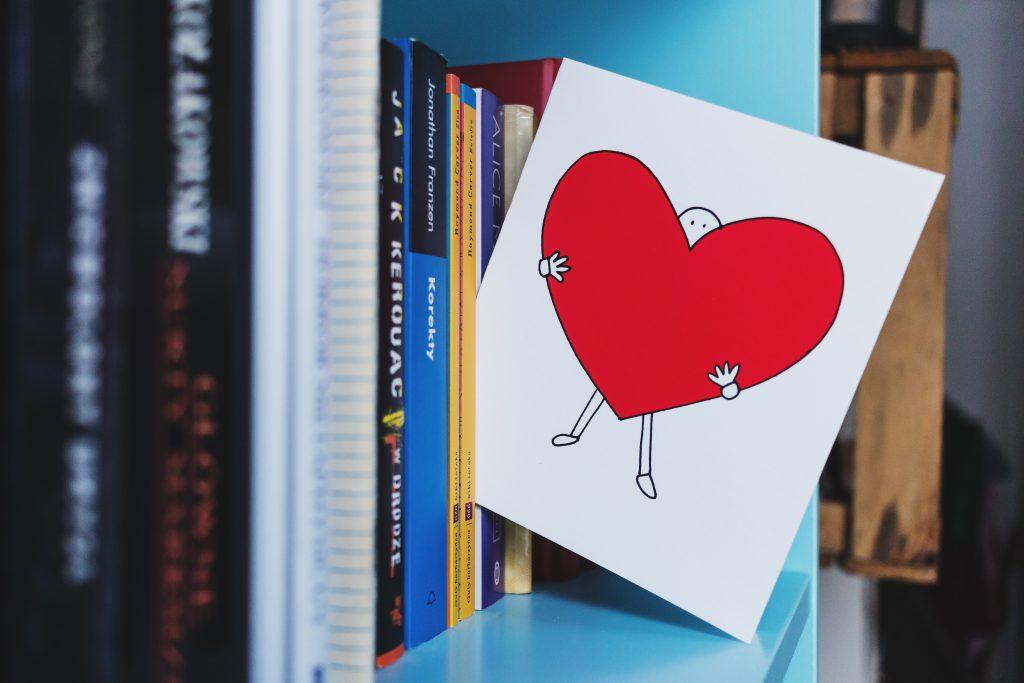 Valentines card on the bookshelf - free stock photo
