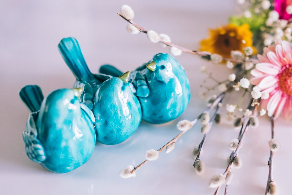 Ceramic birds and Easter palm - free stock photo