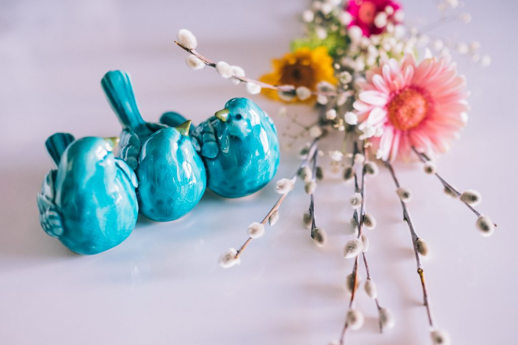 Ceramic birds and Easter palm 2 - free stock photo