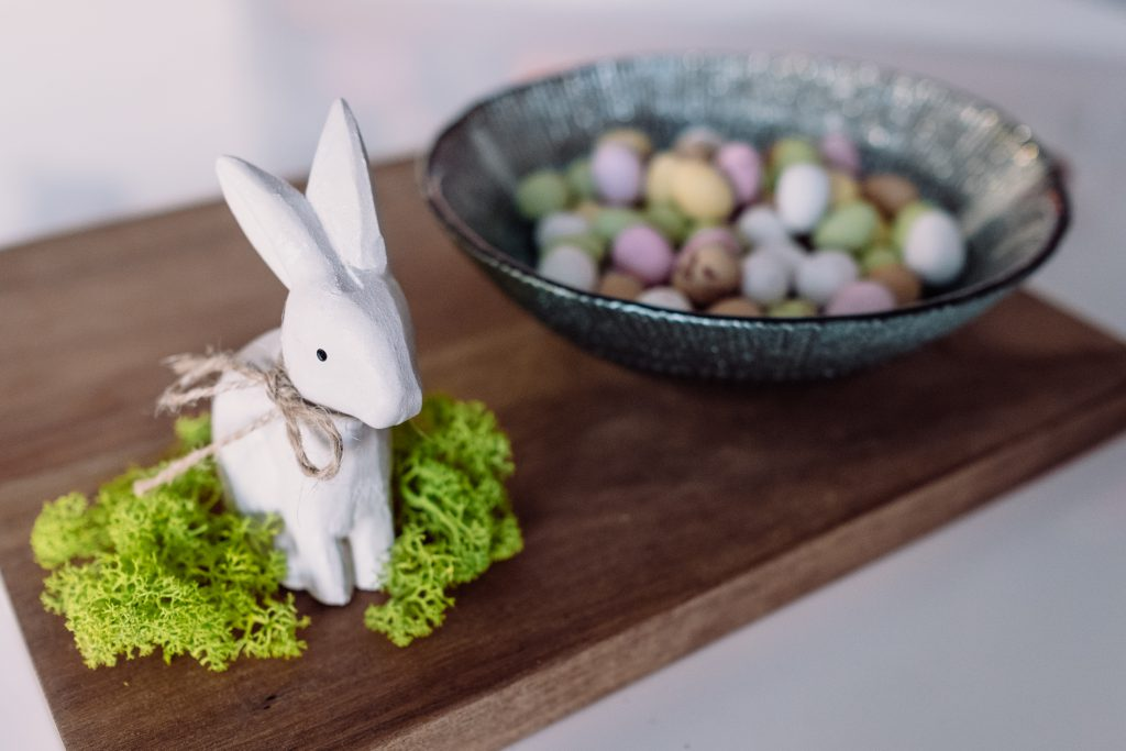 Easter bunny and chocolate eggs - free stock photo
