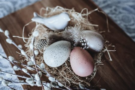 Easter eggs and ceramic bird
