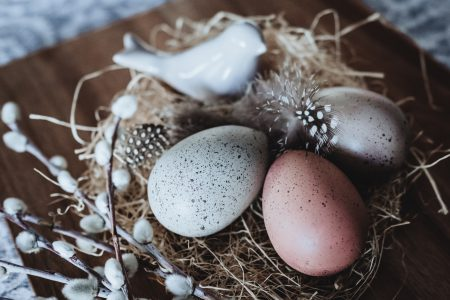 Easter eggs and ceramic bird 2 - free stock photo