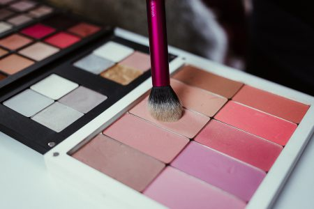 Blush palette and a brush - free stock photo