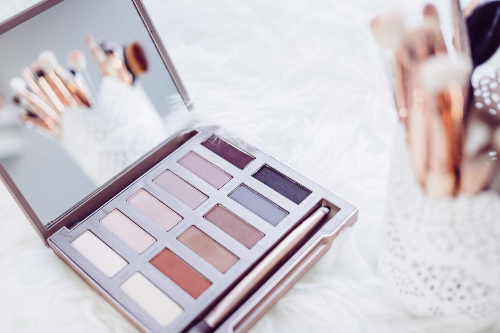 Eyeshadows and makup brushes 2 - free stock photo