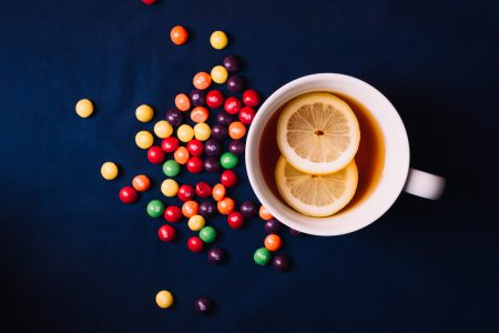 Tea with lemon and Skittles - free stock photo