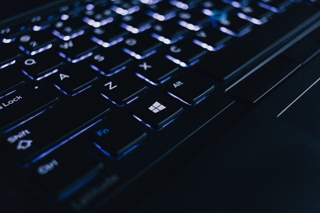 Backlit computer keyboard - free stock photo