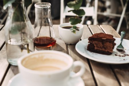 Coffee and a chocolate cake - free stock photo