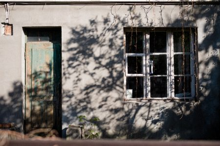 Old house front door and window - free stock photo