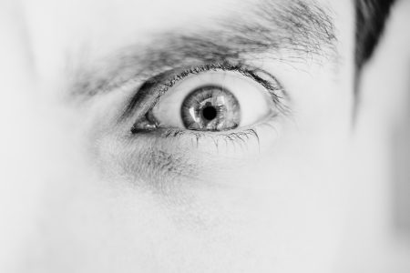 Single male eye in black and white 2 - free stock photo