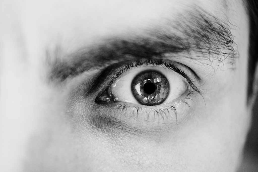 Single male eye in black and white 3 - free stock photo