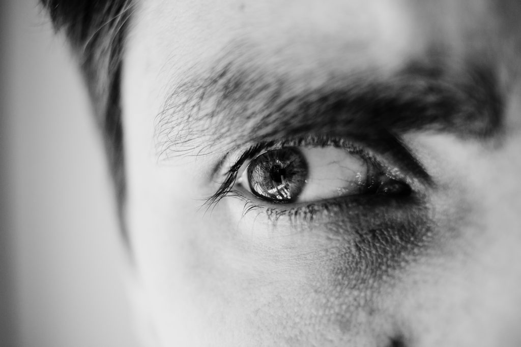 Single male eye in black and white 4 - free stock photo
