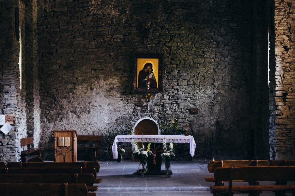 Stone wall church interior - free stock photo