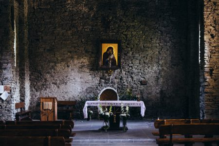 Stone wall church interior - free stock photo