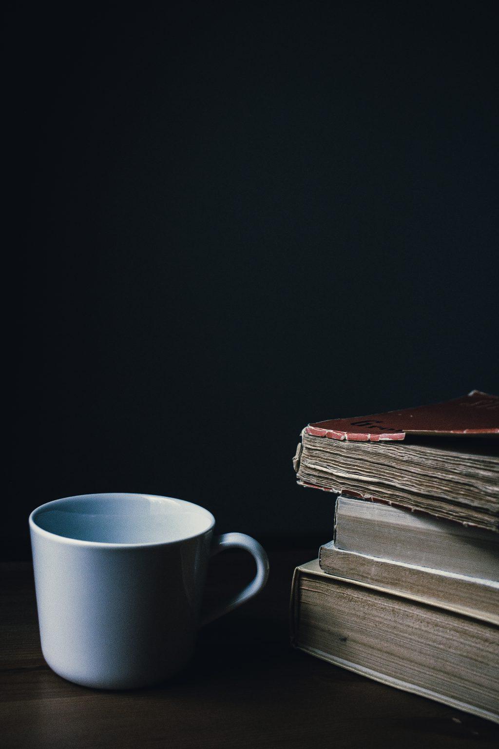 Tea mug and a pile of books 2 - free stock photo