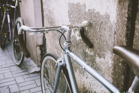 Vintage bicycle against the wall - free stock photo