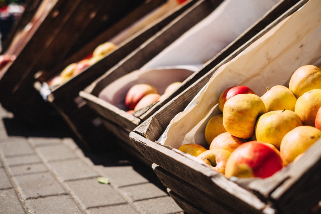 Apples in wooden boxes - free stock photo