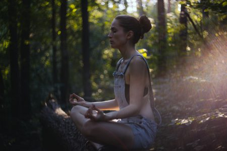 Helios shot of a girl meditating 2 - free stock photo