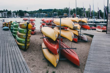 Kayak racks at the lake 2 - free stock photo