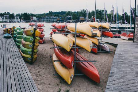 Kayak racks at the lake 2 - free stock photo