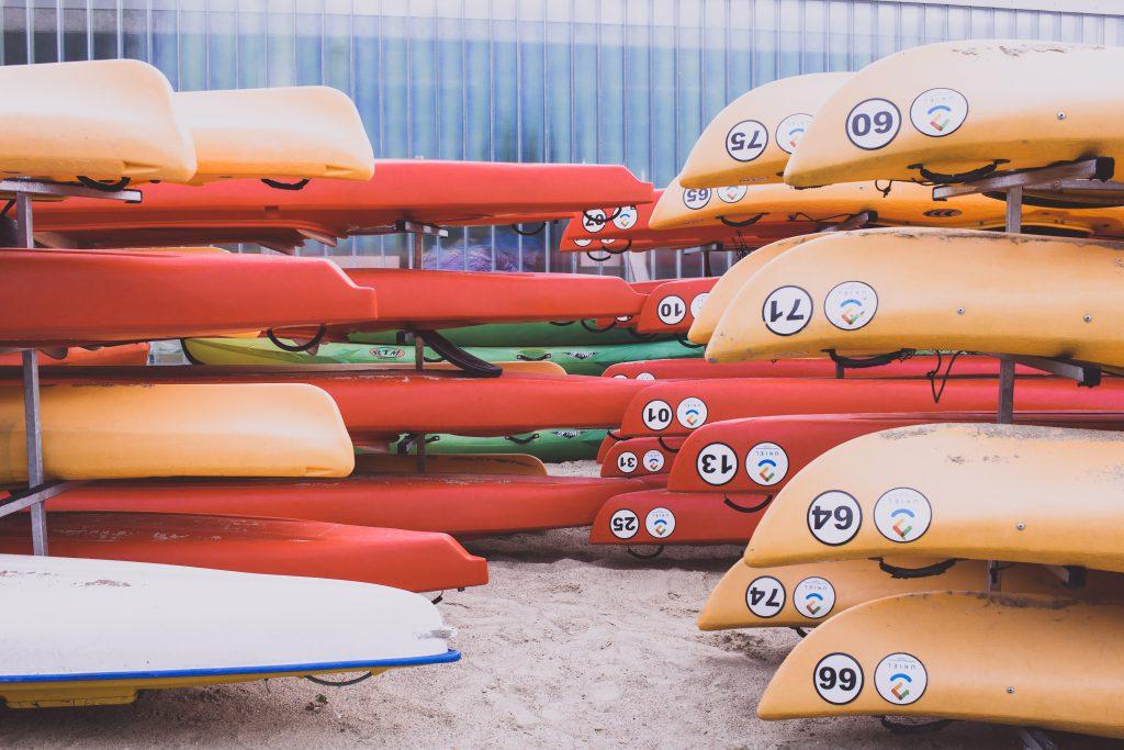 Kayaks in the racks - free stock photo