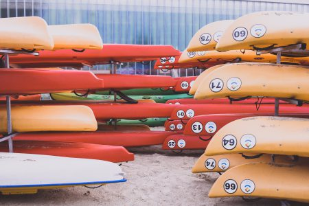 Kayaks in the racks - free stock photo