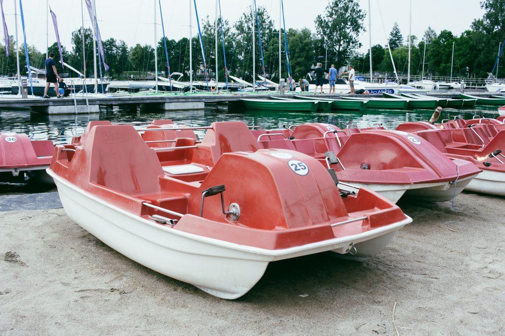 Paddle boats at the lake harbor - free stock photo