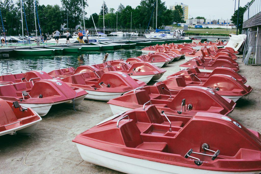 Paddle boats at the lake harbor 2 - free stock photo