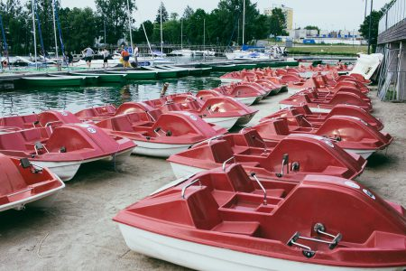 Paddle boats at the lake harbor 2 - free stock photo