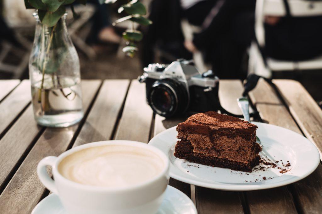 Coffee, chocolate cake and an analog camera 2 - free stock photo