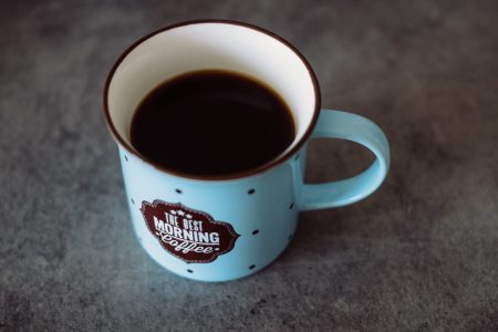 Black coffee in a retro mug - free stock photo
