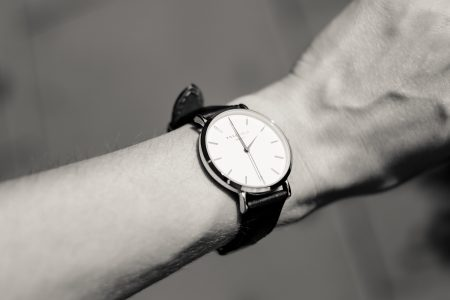 Female wristwatch in black and white - free stock photo