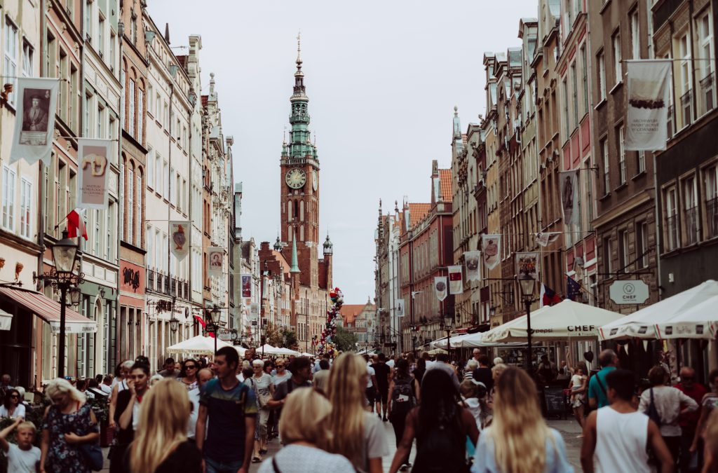 Old town street full of tourists - free stock photo