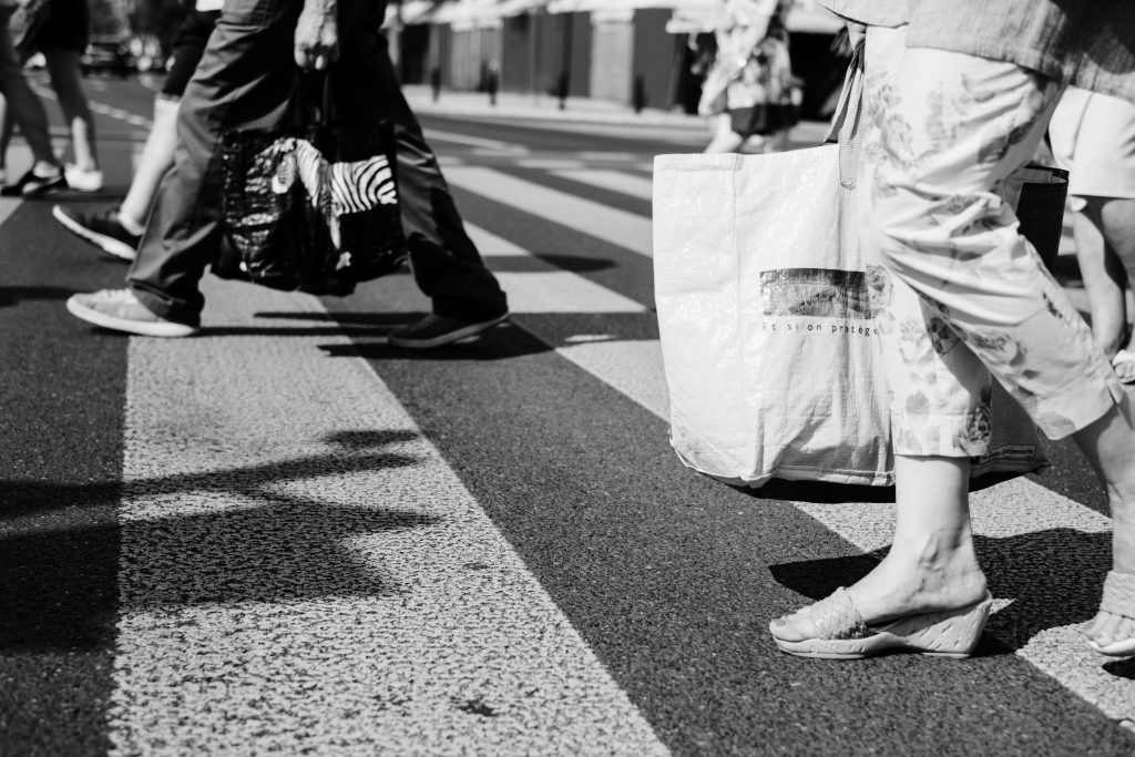 Pedestrian crossing in black and white - free stock photo