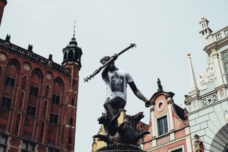 Statue of Neptune in a T-shirt 2 - free stock photo