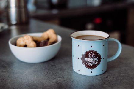 White coffee and biscuits - free stock photo