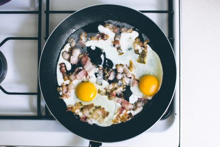 Eggs and bacon on the frying pan - free stock photo