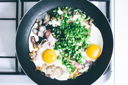 Eggs, bacon and chive on the frying pan - free stock photo