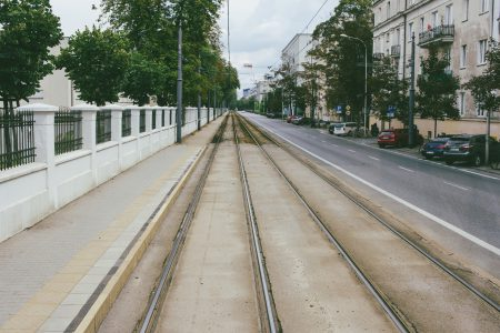 Tram railway along the street - free stock photo