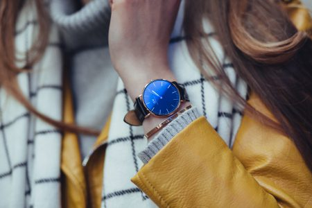 Black and gold female wristwatch - free stock photo