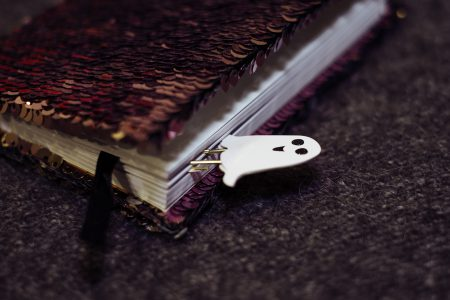 A ghost paperclip in a notebook - free stock photo