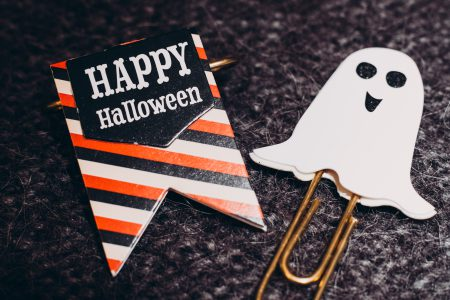 Happy Halloween and a ghost paperclips - free stock photo