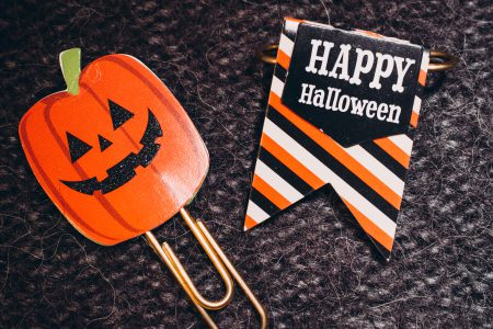 Happy Halloween and a pumpkin paperclips - free stock photo